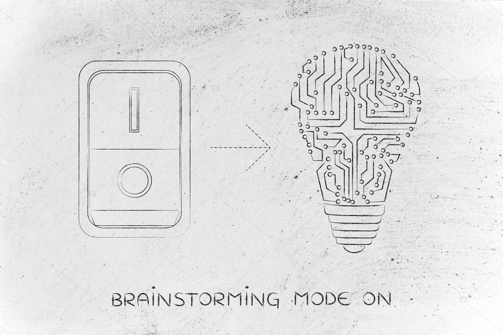 Idee-Glühbirne gemacht von elektronischen Schaltungen mit Schalter ...