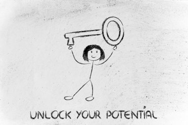Unlock your potential, funny girl holding oversized key stock vector