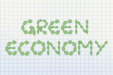 green economy writing made of leaves