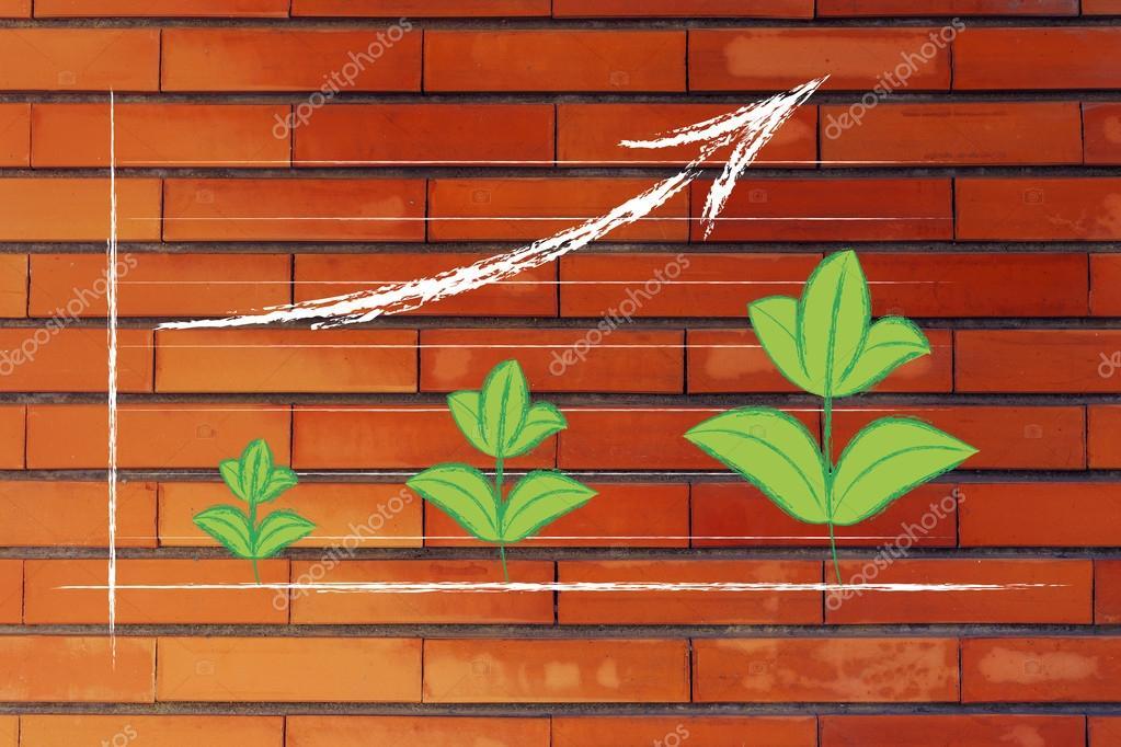 metáfora de la economía verde, hojas de gráfico de rendimiento con ...