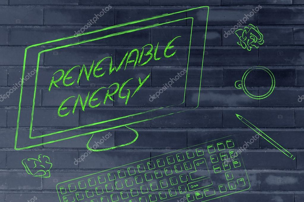 Renewable energy text on computer screen