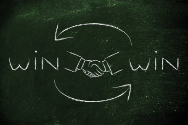 hands shaking exchanging Win Win solutions