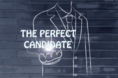 business man handing out the word The Perfect Candidate