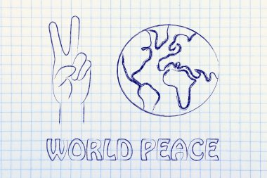 Globe and hands making peace sign