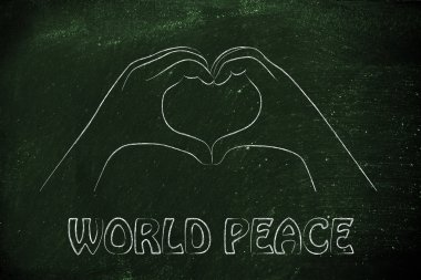 Heart sign with world peace words