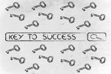 Search engine bar with tags about finding the key to success