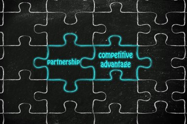 Partnership & competitive advantage puzzle illus