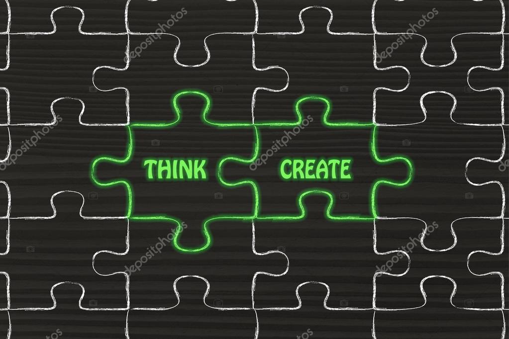 think create puzzle illustration stock photo faithie 74415007