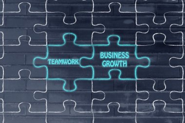 Teamwork & business growth puzzle illustration