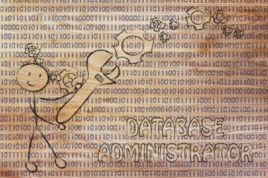 Man with wrench setting up binary code