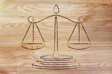Illustration of an old school balance