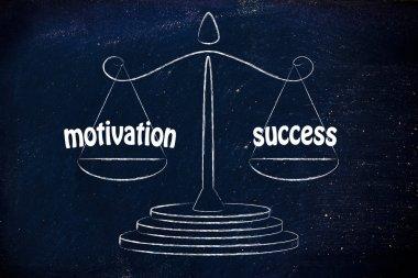 Balance measuring your career performance: motivation & success stock vector