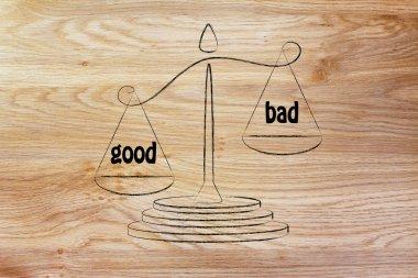 metaphor of balance measuring the good and the bad