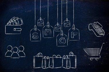 Shops & sales concept illustration