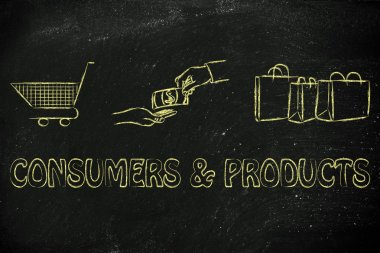 Consumers & products illustration