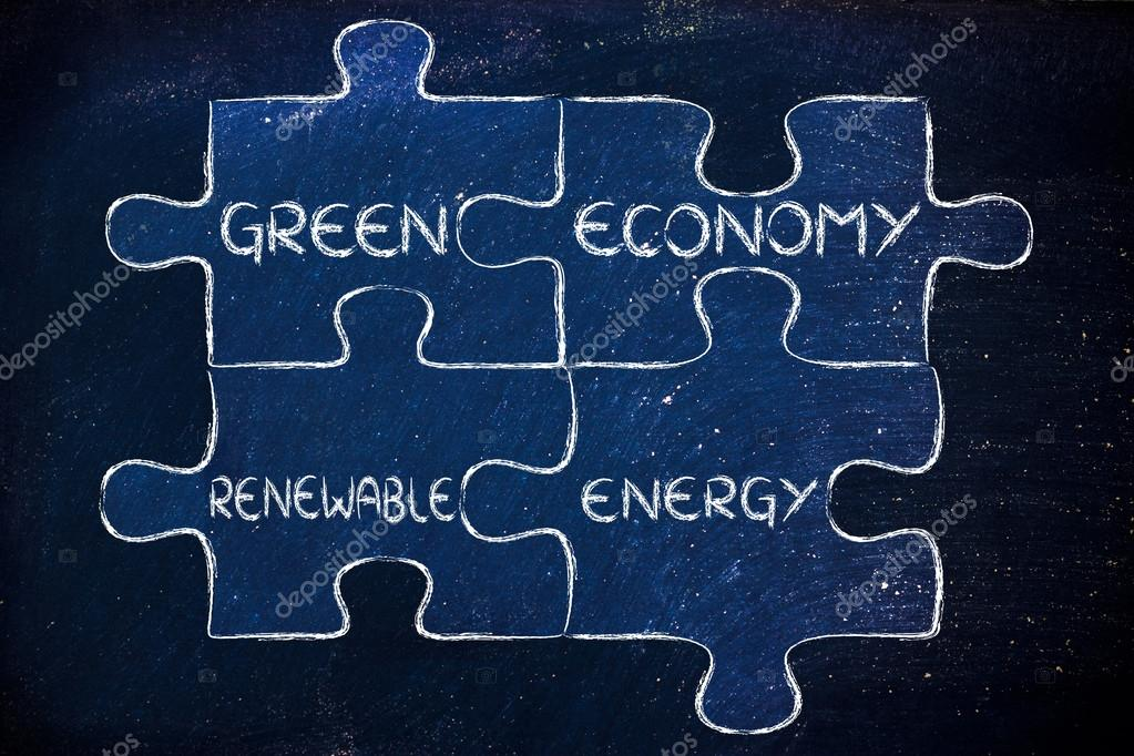 green economy and renewable energy illustration