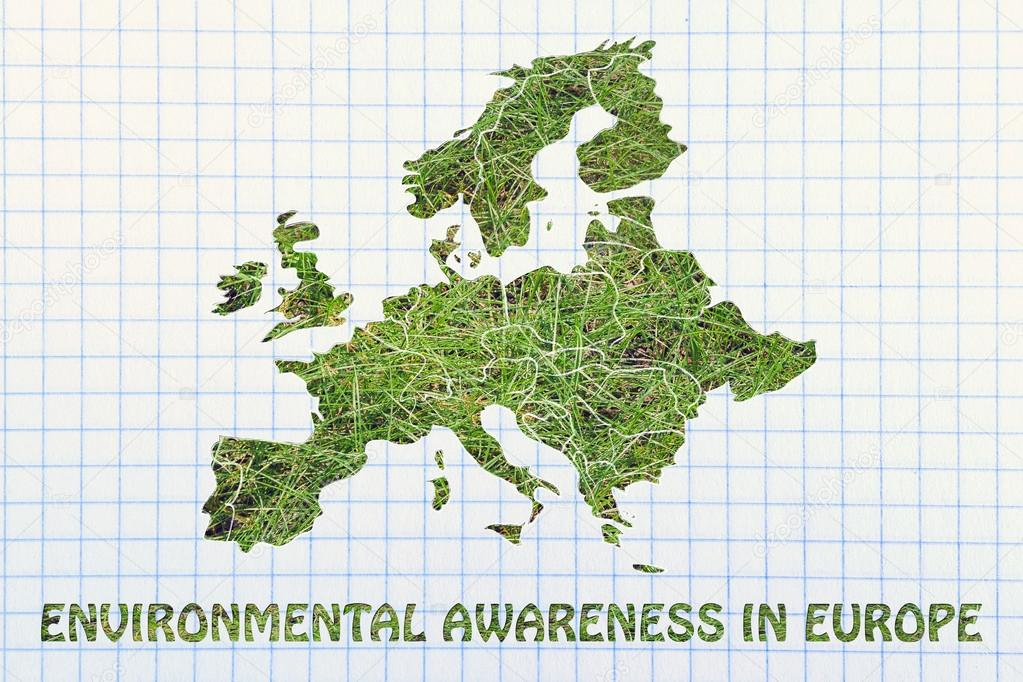 concept of environmental awareness with Map of europe