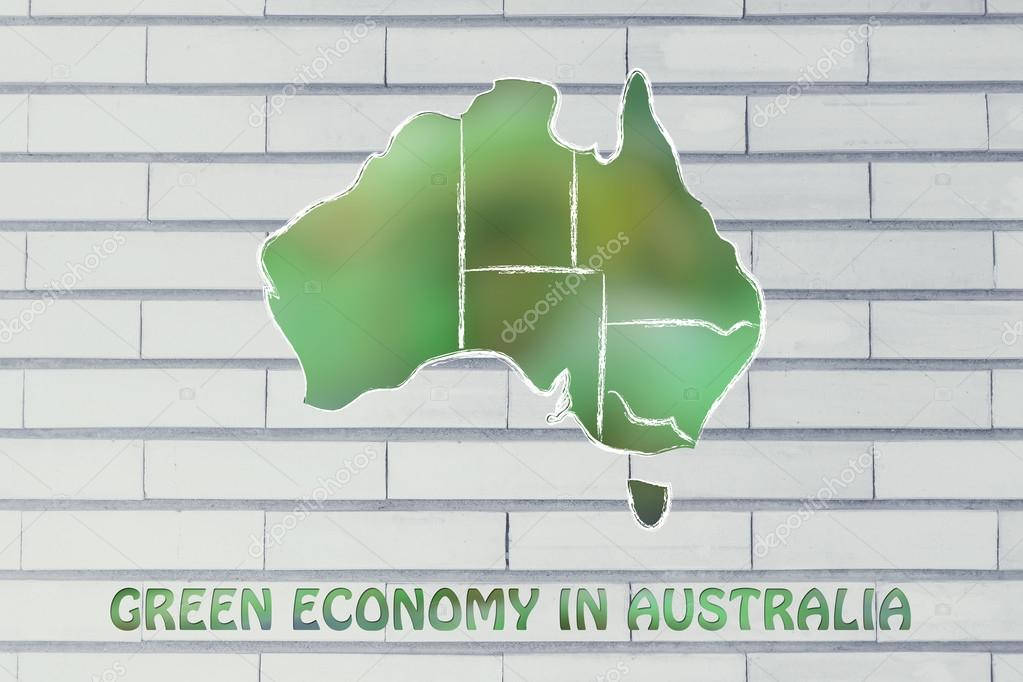 concept of ecology and green economy with Australia map