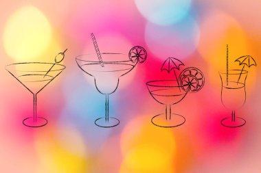 cocktails and drink glasses illustration