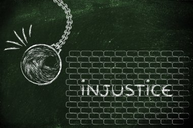 wrecking ball against injustice word