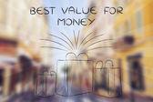 Nákupy pro nejlepší hodnotu za peníze ilustrace