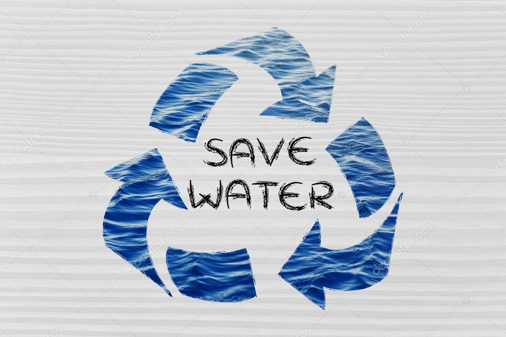 Save water word in recycle symbol