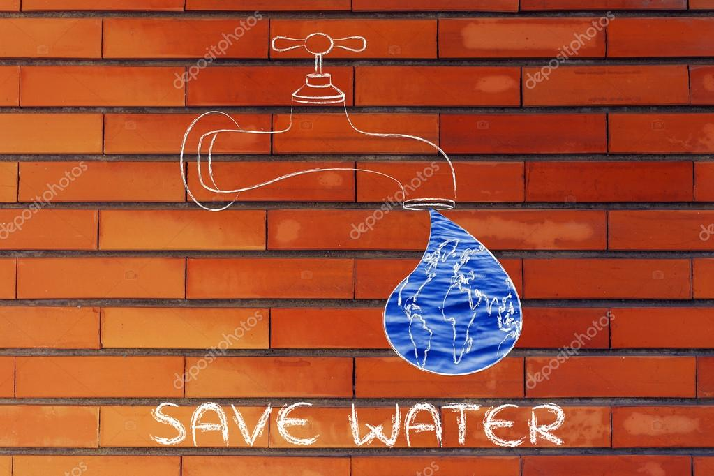 illustration about saving water