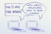 computer conversation about blogging advice