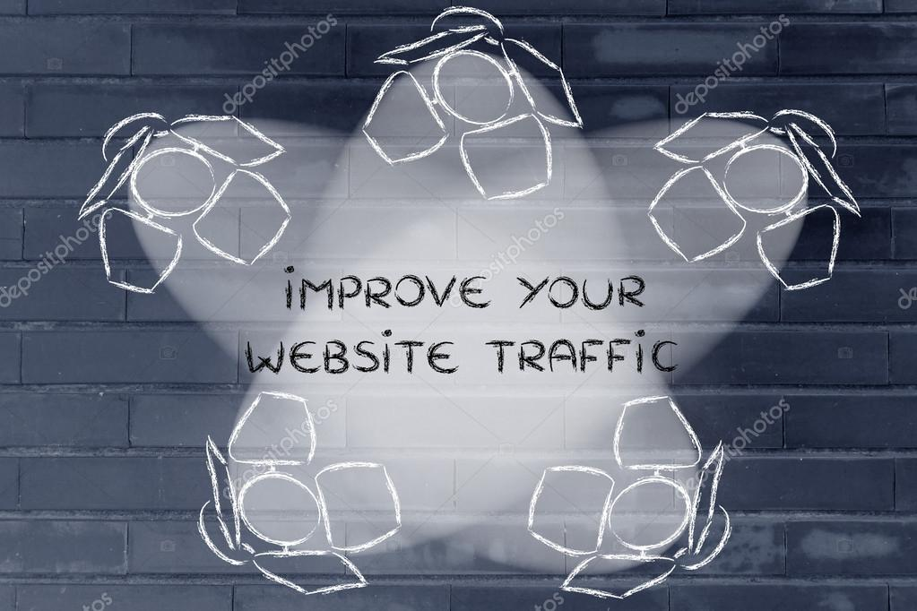 Spotlights with text Improve your website traffic