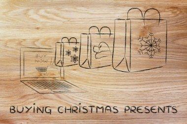 buying Christmas presents illustration