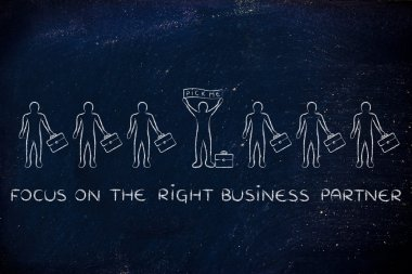Focus on the right business partner illustration