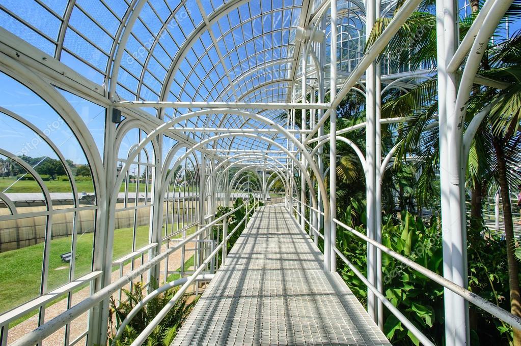 Glazed conservatory in botanical garden