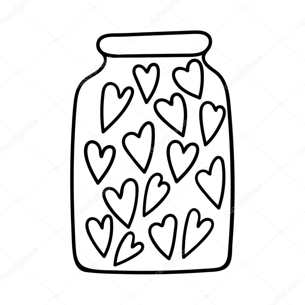 A jar filled with hearts icon