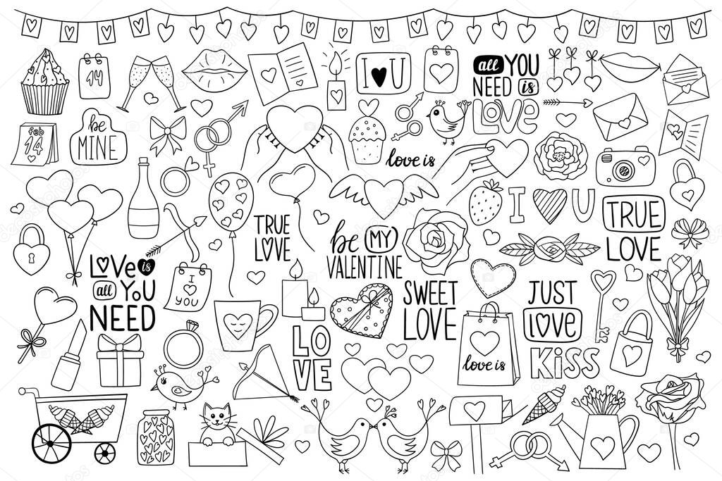 A large set of objects in doodle style on the theme of Valentines Day icon