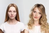 srovnání dvou portréty před a po nalíčení a retuše