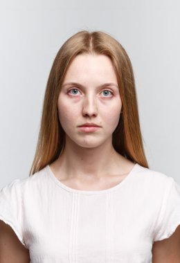 Clean face of young girl no makeup