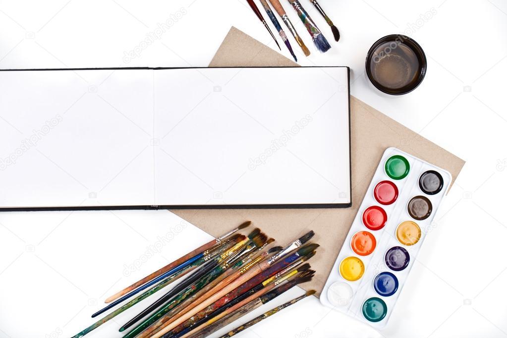 Desktop-Arbeitsplatz Designer, Künstler, Maler Draufsicht. modernen ...