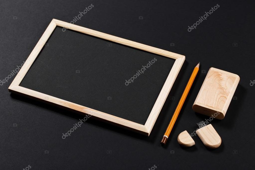 Wooden Frame With Black Field And Pencil And Usb Flash Drive In