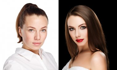 comparison portraits beautiful girl with and without makeup, before and after. left clean face no makeup and right makeup and retouch