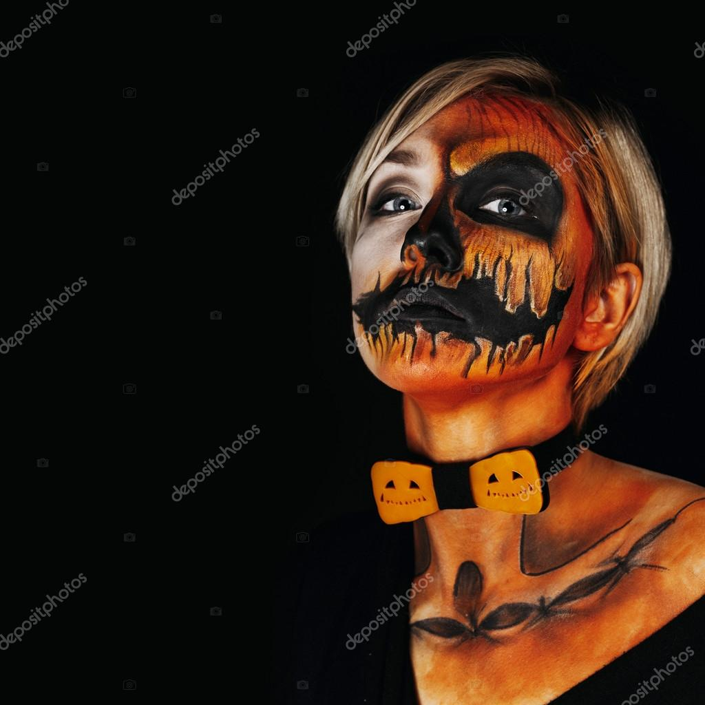 Halloween Portrait Of Body Art Pumpkin Girl With Pumpkin Bowtie On Black Background Real Greasepaint And Face Art Makeup Square Photo Stock Photo C Denisenkomax 87892624