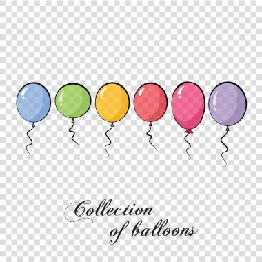 Collection of color balloons. Background with multicolored balloons. Vector 10 EPS. Transparent