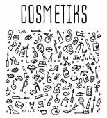 doodle cosmetics and self-care icons, vector illustration