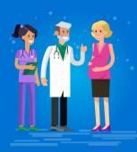 Egy orvos, látogasson el a boldog terhes nő