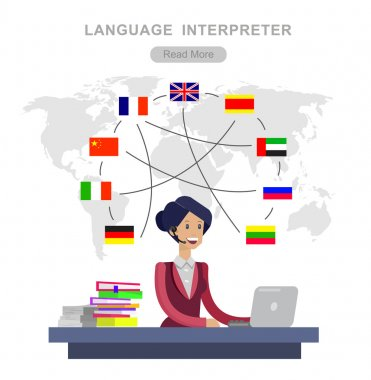 Vector detailed character Language translator