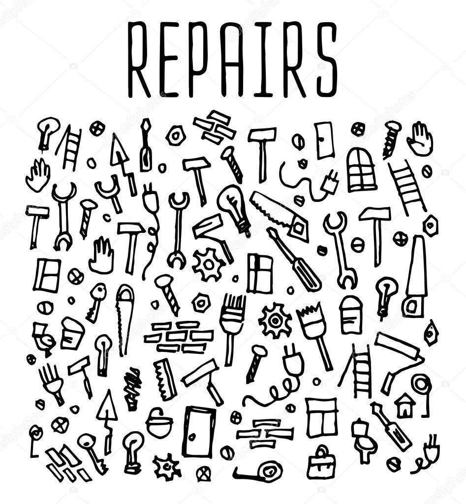 Hand drawn repairs construction tools seamless logo — Stock