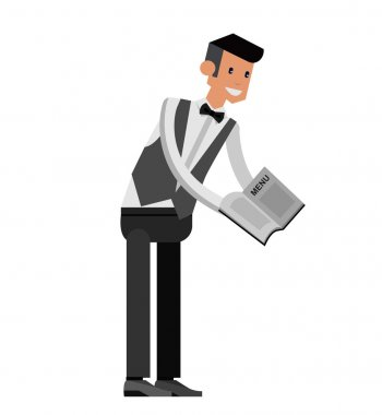 Vector detailed characters Young handsome waiter