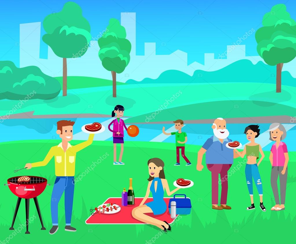family picnic. bbq party. food and barbeque — stock vector © merfin
