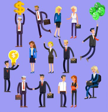 Vector detailed characters people, business people men and women in action. Business people shake hands, with a briefcase, secretary, big boss, startup man, colleagues, business people lifestyle stock vector