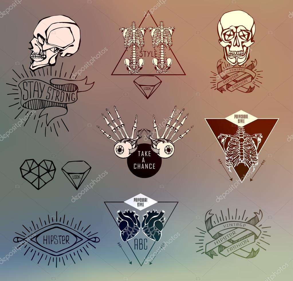 Conjunto de etiquetas con humanos — Archivo Imágenes Vectoriales ...