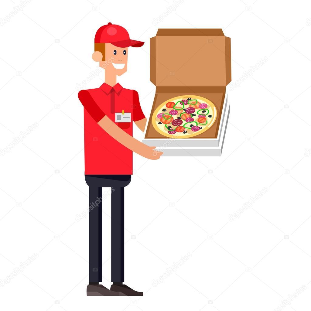 Chico de entrega de pizza de la historieta — Archivo Imágenes ...